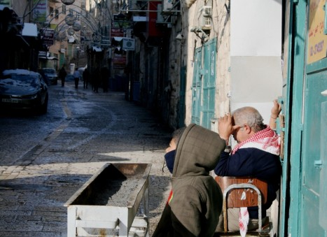 Palestinian shop owners at Manger Square [Credit: M. Whitton]