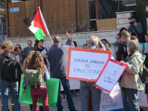 Demonstrators at Sheikh Jarrah [Credit: EAPPI/S.Horne]