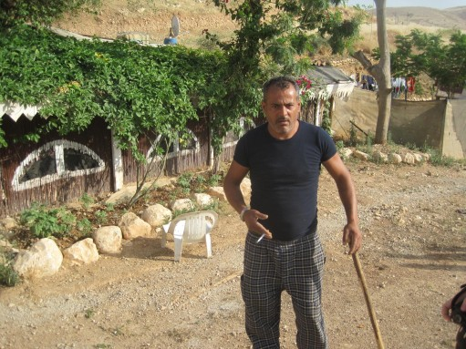 Tariq Abu Oum outside his house in Furush Beit Dajan [Photo: EAPPI/P. Hughes]