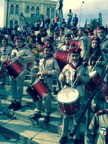 Scout Band at the Children's Festival at the Damascas Gate, Jerusalem. Credit S. Horne