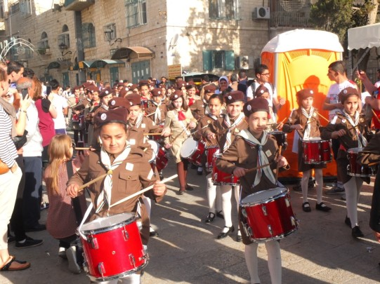 Brownies playing in t the Bethlehem Marathon procession Credit: M Schnetzer