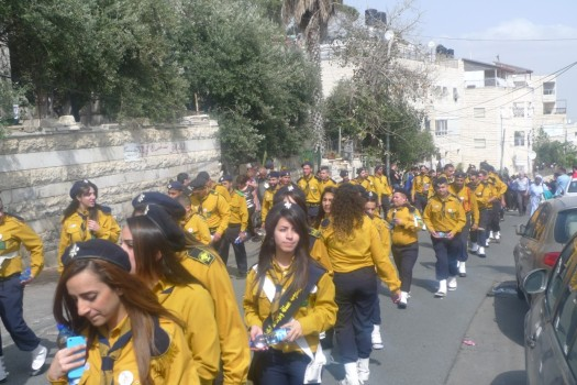 Scout Bands from Bethlehem at the Palm Sunday Procession. They were not allowed to bring their instruments through the checkpoint!