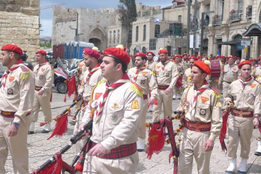 Scout Band in the Holy Fire Saturday procession in Jerusalem.