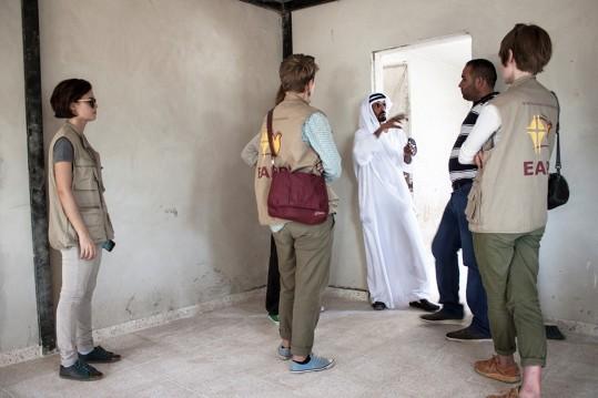 "Attalah explains his plans in the ""Pope's House"" [Photo: EAPPI/E. Aldenberg]"