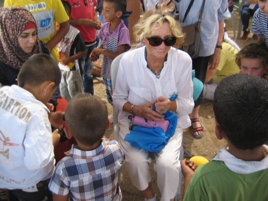 Zelda and some of the children at Susiya Photograph EAPPI/E Brightwell