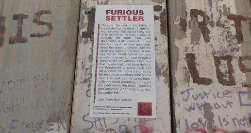 A Poster on the Separation Barrier in Bethlehem. Credit: EAPPI/E.Brightwell