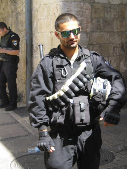 A soldier making his presence felt in Jerusalem [Photo: EAPPI/E Brightwell]