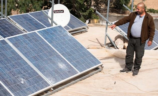 06/10/15 A Seefer. Solar panels belonging to Mahmoud Qbeita damaged by settles throwing stones at 2 A.M.. Photo: EAPPI/BG. Saltnes
