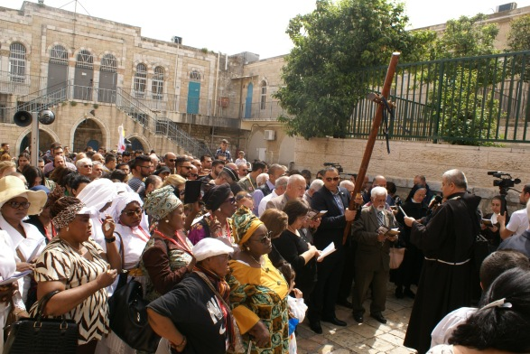 The start of Good Friday's Via Dolorosa procession in Jerusalem. [Photo EAPPI/AHaywood]