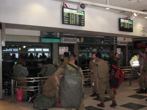 Israeli Soldiers Waiting for buses at the Central Station, Jerusalem Photo: Yoninah