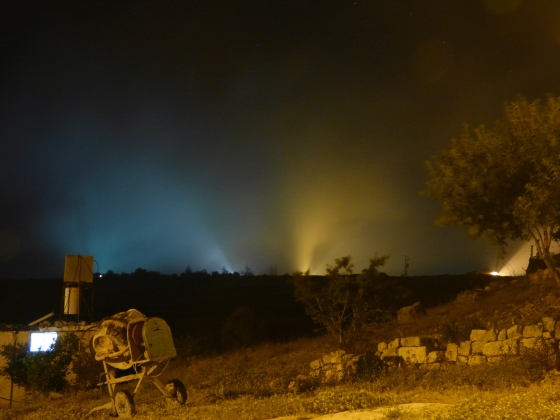 Lights of outpost above Yanoun