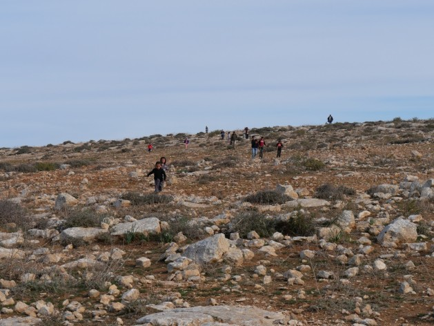 Children running down the hillside of Umm Al Ar'ais. Photo: EAPPI/Gerri