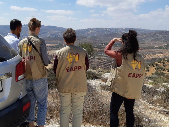 15092018, Nabus Quaryut village, Bashar al Quaryote and EAs look at Shilo settlement built on village land Credit photo EAPPI Philippa